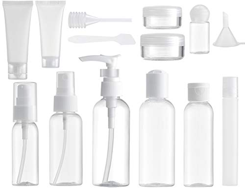 Lisapack 14 PCS Travel Bottle Set for Toiletries (Max. 3.4Oz) Travel Size Container, Holiday Dispenser for Liquid Cosmetic TSA (Clear, BPA Free)