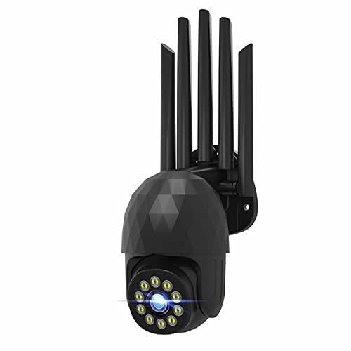 Cámara de Seguridad para Exteriores con inclinación panorámica, cámara IP WiFi para el hogar, con detección de Movimiento de Audio bidireccional de visión Nocturna en Color (A)