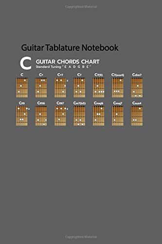 "Guitar Tablature Notebook: Blank Guitar Tabs paper, Standard Staff & Tablature Featuring Twelve 6-Line Tablature Staves Per Page With a ""TAB"" Clef with Set of Chord Diagram Theme"