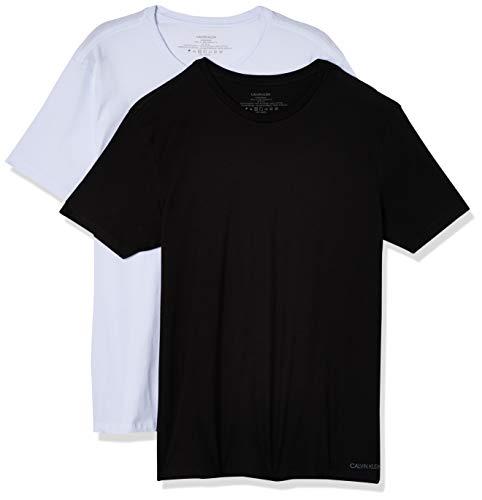 Kit com 2 Camisetas Crew, Calvin Klein, Masculino, Preto/Branco, G