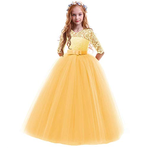 Flower Girls Pageant Ball Gowns Kids Chiffon Embroidered Tulle Wedding Party Homecoming Bridesmaid Dress for Junior Teen Yellow 7-8 Years