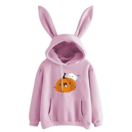 AOCRD Sudadera con capucha con orejas de conejo Kawaii para niña, de manga larga, con capucha, forro polar,...