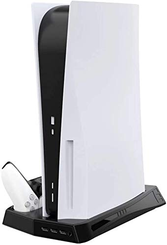 Vertical Stand for Playstation 5 with Cooling Fan Charging Station for PS5 Digital Edition/Ultra HD Console with DualSense Controller Charger and 3 USB Ports