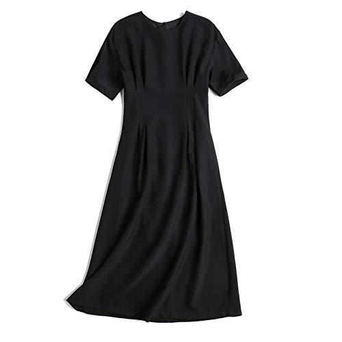 Kleid Damen Knielang Esprit,Boutique Damenbekleidung, Temperament Mode Puffärmel einfarbiges Kleid, Kleid-Black_XS