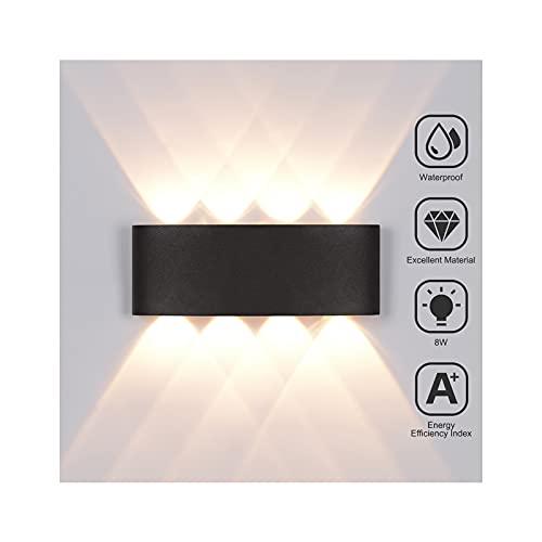 LED Wandleuchte Aussen 8W Wandleuchte Innen Außenleuchte Wasserdicht IP65 Außenlampe Modern Up Down Aluminium LED Außenwandleuchte Wandbeleuchtung Innen & Außen Warmweiß Wandlampe Innen Wohnzimmer