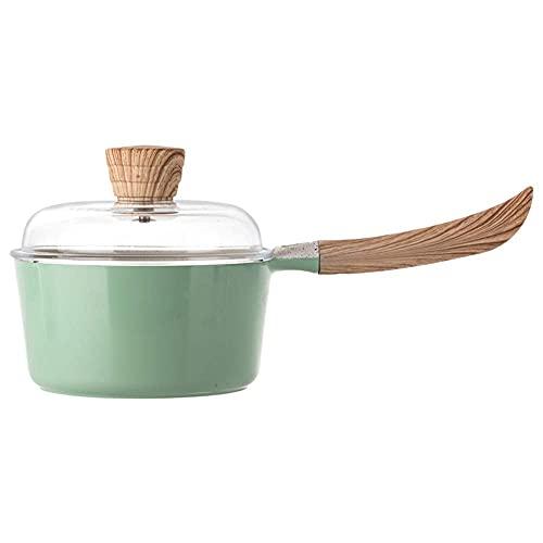 COLiJOL Milk Pan Maifan Stone Household 16Cm Food Supplement Single Handle Stock Pot Universal (Color : Green, Size : 8.5X16Cm),Green,8.5X16Cm