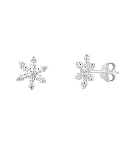 SIX 925er Silber - süßer Damen Ohrring mit silberner Schneeflocke mit weißen Glitzer Steinen, Ohrstecker, earring, Winter, Stern (435-735)