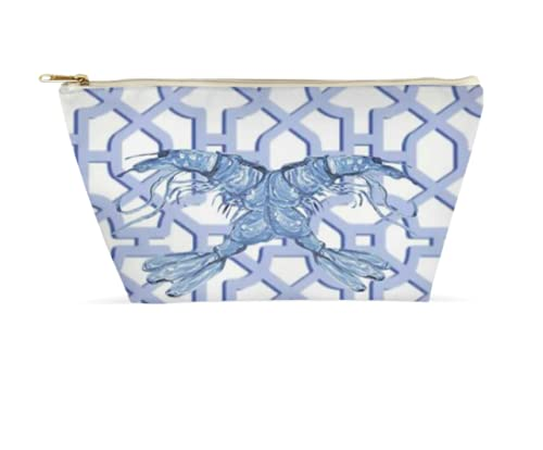 Hand Painted Product Blue Shrimp Chinoiserie Makeup All stores are sold Cosmetic Bag