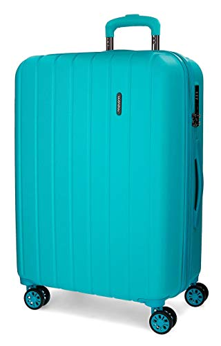 Movom Wood Maleta mediana Azul 44,50x65x27,5 cms Rígida ABS Cierre TSA 68L 3,8Kgs 4 Ruedas Dobles Extensible