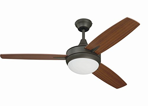 Craftmade 3 Blade Ceiling Fan with Dimmable LED Light and Wall Control TG48ESP3 Targas 48 Inch...