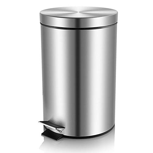 H+LUX Round Mini Trash Can with Lid Soft Close and Removable Inner Wastebasket, Anti-Fingerprint Brushed Stainless Steel Garbage Can for Bathroom Bedroom Office, 0.8Gal/3L