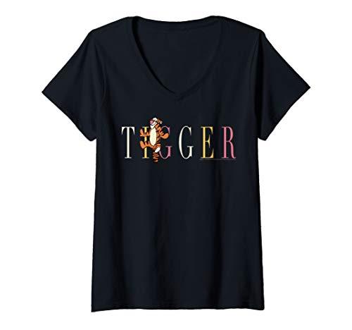 Womens Disney Winnie The Pooh Tigger Simple Text V-Neck T-Shirt