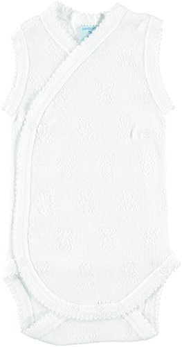BABIDU 1151 Body Tirante Cruzado Calado Ositos Ropa de Bautizo, Blanco (Blanco 1), 56 (Tamaño del Fabricante:1) Unisex bebé