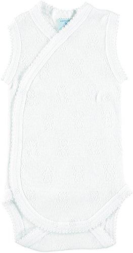BABIDU 1151 Body Tirante Cruzado Calado Ositos Ropa de Bautizo, Blanco (Blanco 1), 50 (Tamaño del Fabricante:0) Unisex bebé