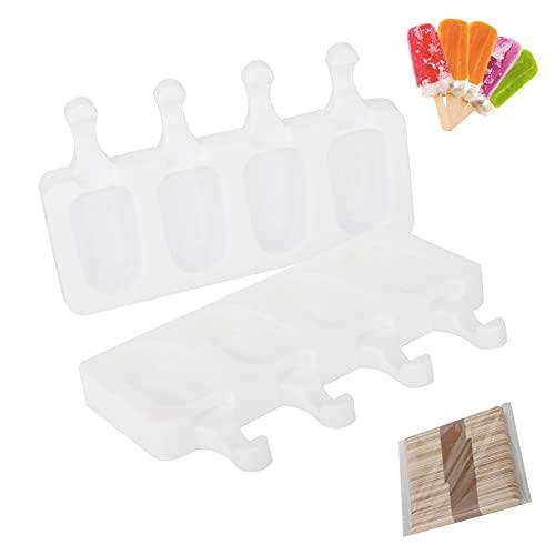 Moldes de Helado,Juego de Moldes para Polos 2 PCS Reutilizable Mini Moldes de Congelador para Hacer Polos de Hielo Postre Chocolate