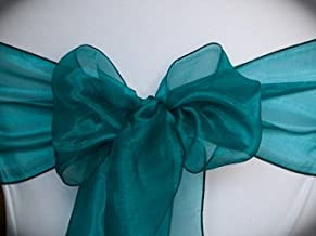 mds Pack of 50 Organza Chair Sashes Bow Sash for Wedding and Events Supplies Party Decoration Chair Cover sash -Dark Teal