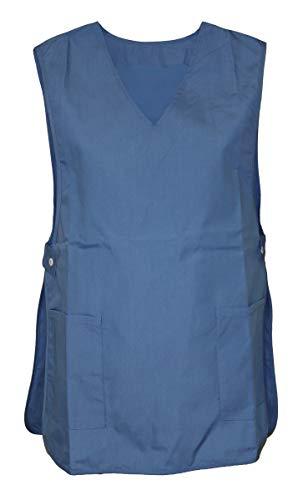 Schuerzenfabrik Chasuble Kasack Überwurf Schürze Baumwolle/Polyester, Größe:XL, Farbe:blau zum Knöpfen