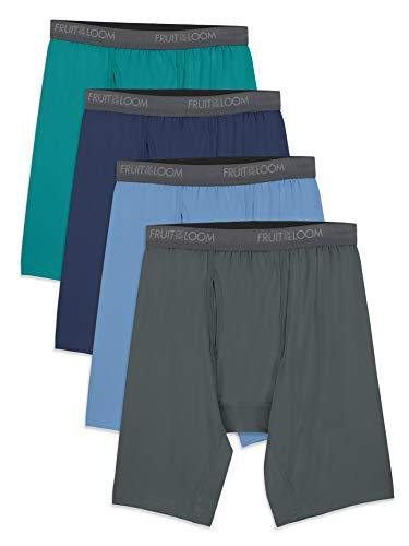 Fruit of the Loom Men's Microfiber Boxer Briefs (Size XXL), Long Leg-4 Pack-Assorted Colors, XX-Large
