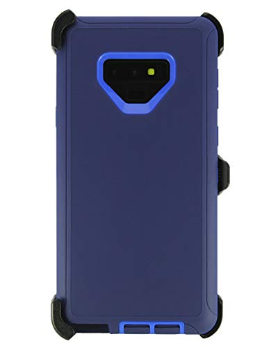 """WallSkiN Turtle Series Belt Clip Cases for Galaxy Note 9 (6.4""""), 3-Layer Full Body Life-Time Protective Cover & Holster & Kickstand & Shock, Drop, Dust Proof - Navy Blue/Blue"""