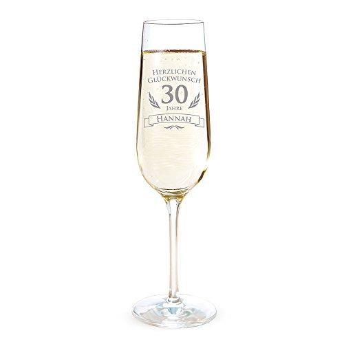 AMAVEL Sektglas mit Gravur zum 30. Geburtstag – Personalisiert mit [Namen] – Sektflöte als Geburtstagsgeschenk – Geschenkidee für Frauen – Glas für Sekt, Champagner und Prosecco – Sektkelch