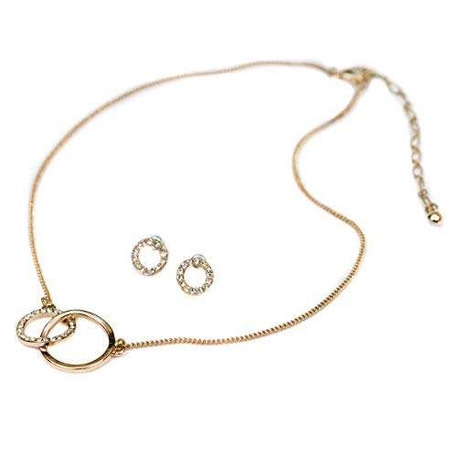 Pilgrim Rose Gold & Crystal Interlock Circle Necklace And Earrings Jewellery Set