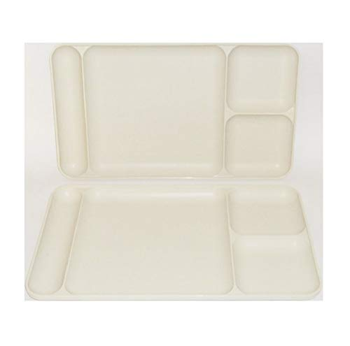 Set of Two - Off white / Almond colored Tupperware Dinner Divided pot-luck - Dining Trays