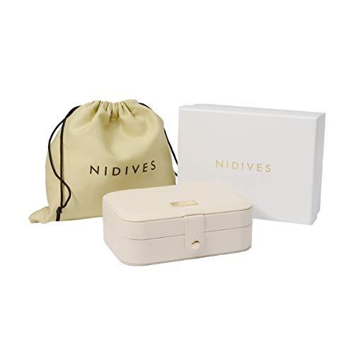 NIDIVES: Joyero para mujer | Pequeño joyero de viaje nuevo diseño microfibra alta calidad | Organizador joyas pendientes, collares, relojes, anillos y accesorios crema