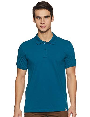 Amazon Brand - Symbol Men's Solid Regular Polo Shirt (SS19PLS2_Fog Teal L)