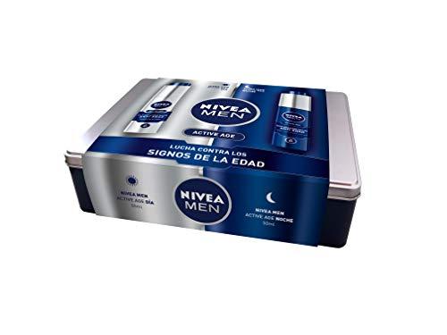 NIVEA MEN Pack Active Age Antiedad, caja de regalo con fluido hidratante antiedad (1 x 50 ml) y crema facial regeneradora (1 x 50 ml), set para hombre