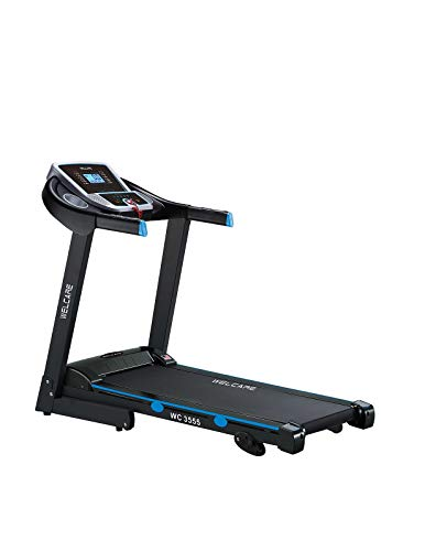 WELCARE WC3555 2HP 4HP Peak DC Foldable Motorized Treadmill with LCD Display (Black)