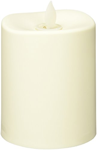 """The Gerson Company 3"""" D x 4"""" H Indoor-Outdoor Resin Weather Resistant Wavy Edge Candle with Motion Flame 360(R) Technology"""