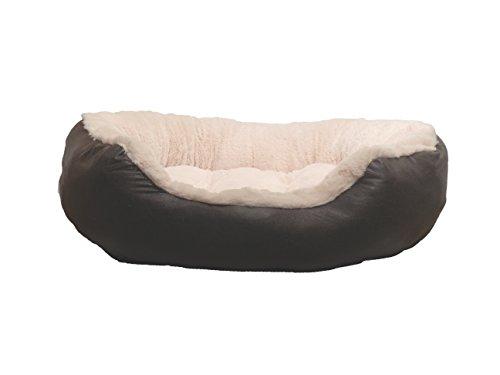 Rosewood 04411 Hundebett Medium aus kuschelig weichem Pelz, mit Rutschfester Unterseite, Maschinenwäsche, 62cm, braun/cremeweiß
