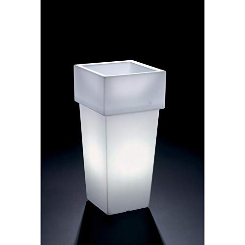 Veca verlichte bloempot vierkant 'Gemini' - hoogwaardige verlichte bloemenbak - wit - verkrijgbaar in verschillende hoogtes - met spaarlamp E27, 11 Watt hoekig Höhe: 85 cm, Durchmesser 40 cm wit