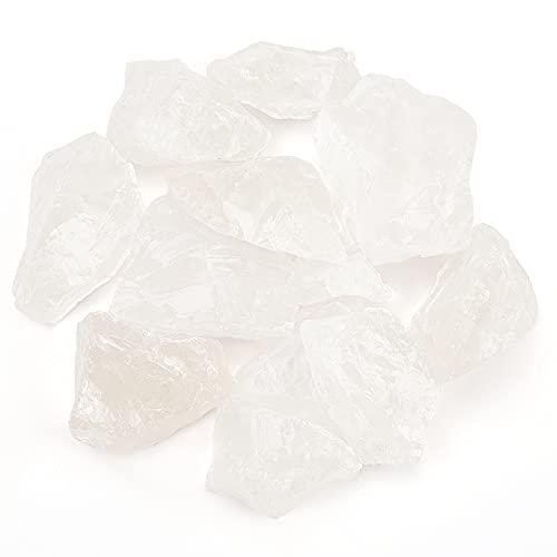 AHANDMAKER Cuarzo Blanco Plana, Piedra de Cristal de Cuarzo Transparente Rugosa, Piedras Puntiagudas de Cuarzo Claro Natural, Colección