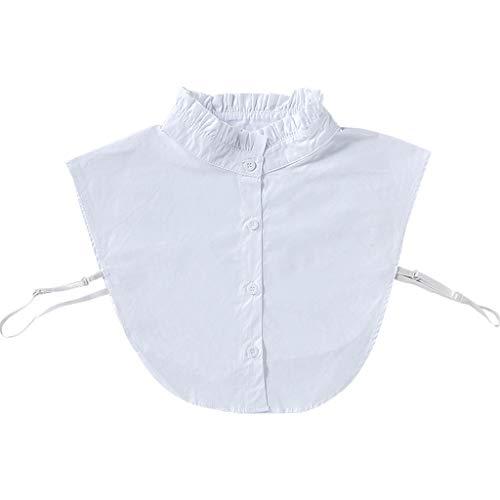 JOYKK Damen Sweet Wrink Rüschen Fake Stehkragen Layering White Sweater Half-Shirt - Weiß