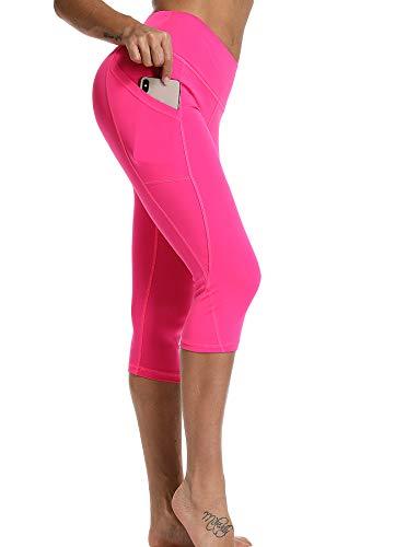 STARBILD Leggings 3/4 Mallas Pantalones de Alta Cintura Elástica Súper Transpirable Adelgazante de Yoga Deportivas Leggins para Mujer Rosa Roja M