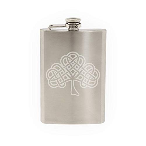 Ireland Celtic Knot Clover - Religion - Etched 8 Oz Stainless Steel Flask