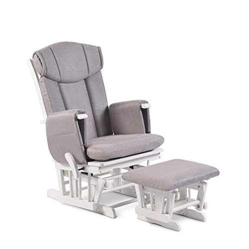 Babyhoot Carlton Deluxe Nursing Maternity Glider Chair with 7 Recline Positions and Stool - Grey