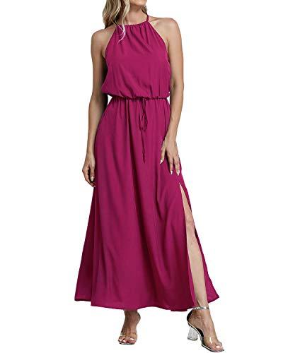 YOINS Sommerkleid Damen Lang Sexy Oversize Ärmellos Strandkleid Casual Partykleid Elegant Lose Kleid HoheTaille Rosa 40-42