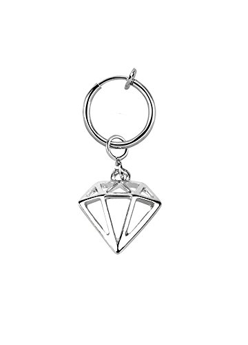 lau-fashion Illusion Test Piercing Diamant Fake Clip Damen Bauchnabel Klemme Silber Ring Ø 13mm