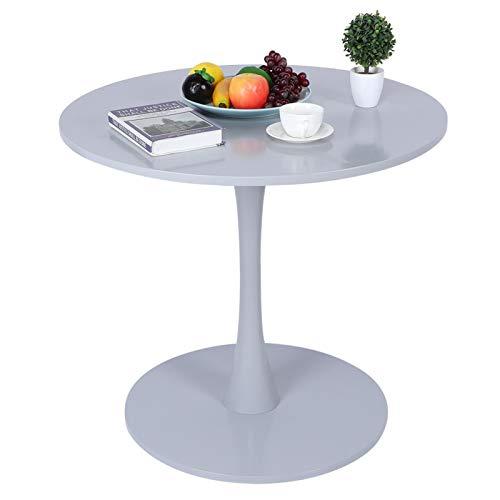 Greensen Tavolo da Pranzo Bianco, Tavolo da Pranzo Tulipano con Piano Rotondo in MDF, tavolino da caffè per Il Tempo Libero Tavolini da tè per Soggiorno Cucina Giardino Terrazza Patio(Grigio)