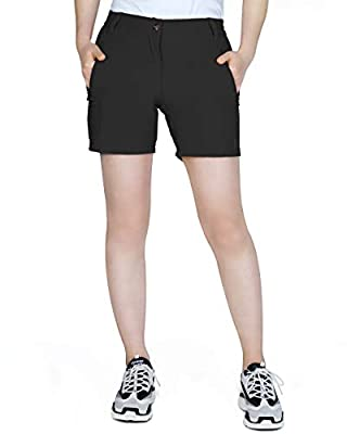 Outdoor Ventures Women's Hiking Shorts Lightweight Breathable Stretch Quick Dry Cargo Shorts for Hiking, Camping, Travel Black