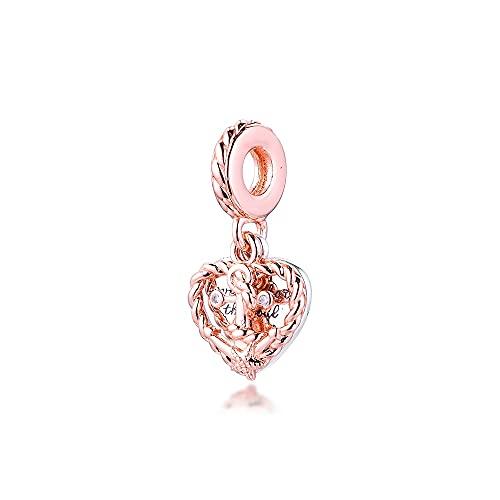 LIIHVYI Pandora Charms para Mujeres Cuentas Plata De Ley 925 Cuerda Corazón Amor Ancla Colgante Compatible con Pulseras Europeos Collars