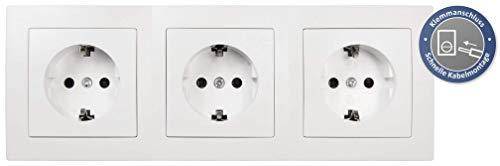McPower Flair 3-delige stopcontactenset, beginner 3S Profi | 4-delig, stopcontacten met kinderbeveiliging, wit, mat