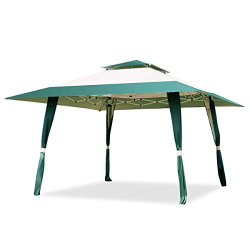 Multigot 4m x 4m Pop Up Gazebo with Carry Bag, Outdoor Patio Garden Waterproof Canopy Tent Marquee Shelter Roof Vent (Green)