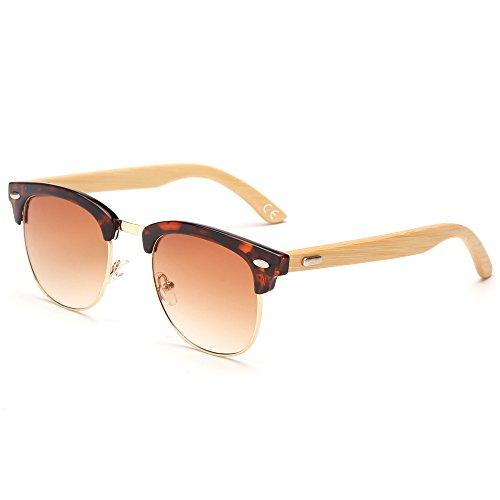 VeBrellen Occhiali da Sole di Bambu Telaio semirimorco Occhiali Temple Wood e Frame YJ069 (Leopard Frame Brown Lens)