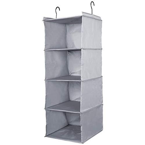 Outry Wardrobe Hanging Storage, zusammenklappbarer Schrank Organizer für Kleidung, Schuhe, Socken, Handtücher und Unterwäsche (grau, 4-Regal)
