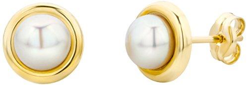 Miore Ohrringe Damen Ohrstecker mit Weiße Süßwasserperlen aus Gelbgold 14 Karat / 585 Gold, Ohrschmuck