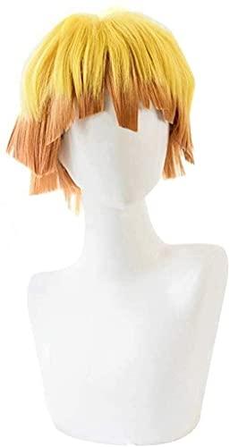 Peluca, 100% resistente al calor de alambre de alta temperatura, amarillo gradiente naranja reversa rizado pelo corto peluca headgear, adecuado para el juego de rol de anime