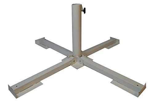 Unbekannt 1 X Schirmständer Plattenständer Weiss für Steinplatten/Gehwegplatten Sonnenschirmständer Für Stockgrößen: 25-40mm Rohrhöhe:ca.35 cm Terassenschirm Ständer